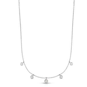 Sterling Silver Rhodium White Finish Shiny Rnd Necklace Lobster Clasp 0.5ct Rnd White CZ 18 Inch