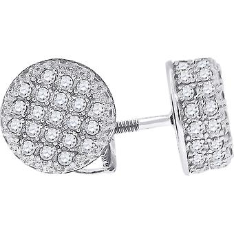 925 Sterling Silver Mens CZ Cubic Zirconia Simulated Diamond Round Stud Earrings Jewelry Gifts for Men