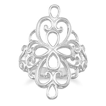 Polished 925 Sterling Silver Ornate Filigree Design Ring Jewelry Gifts for Women - Ring Size: 6 to 9