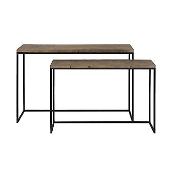 Light & Living Side Table Set Of 2 Max 120x40x79cm Camasca Metal Black And Wood