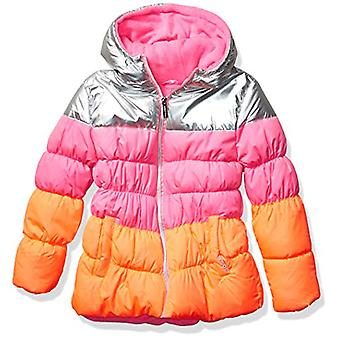 Limited Too Girls' Big FOIL Colorblock Puffer, Pink, 14/16