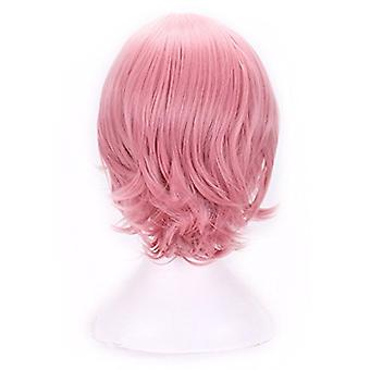 AneShe Short Straight Hair Cosplay Costume Wig Party Wig (Pink)