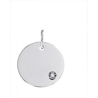 Pingente de placa redonda de diamante e ouro branco (9K)