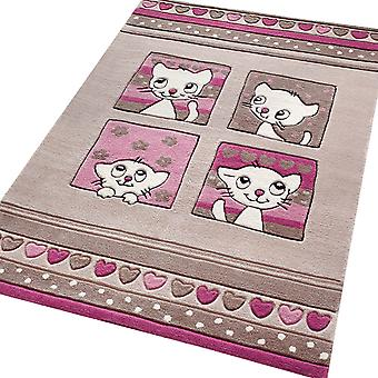 Kitty Kat Rugs 3988 01 In Grey And Pink