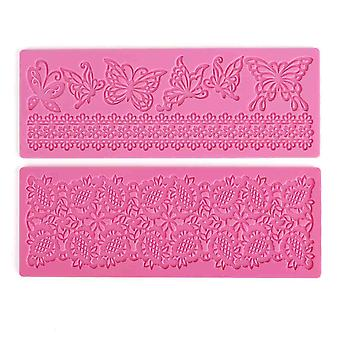 2x Lace Silicone Fondant Mold Wedding Cake Mould Decoration Borders Baking With Butterflies And Flowers