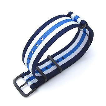 Strapcode n.a.t.o pulseira de relógio miltat 20mm g10 pulseira de relógio militar faixa de nylon balístico, pvd - listras azuis e brancas