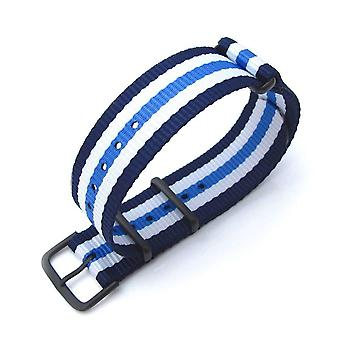 Strapcode n.a.t.o watch strap miltat 20mm g10 military watch strap ballistic nylon armband, pvd - blue & white stripes