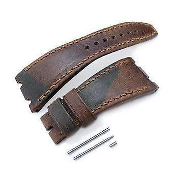 Strapcode cuir robe de montre camo modèle cuir de la sangle de montre d'art, fil de cire couture brune, fait sur mesure pour audemars piguet chêne royal au large