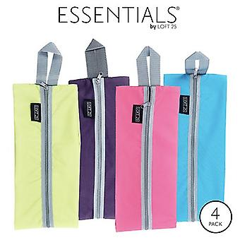 Essentials by Loft 25 Waterproof Travel Luggage Organiser Shoe Bags with Zipper - Pack of 4 (Purple, Pink, Turquoise, Lime)