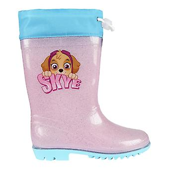 Paw patrol skye kids rain boots wellies pvc with glitter