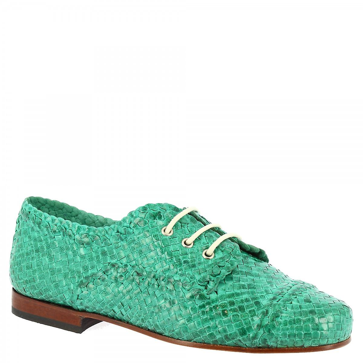 Leonardo Shoes Women's handmade lace-ups shoes green water woven calf leather aDSEW