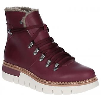 CAT Lifestyle Attention Fur Ladies Leather Hiker Boots Wine