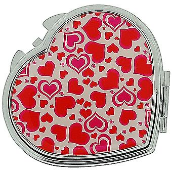FMG Silver Plated Finish Heart Shaped Compact Mirror With Love Hearts On Cover SC602