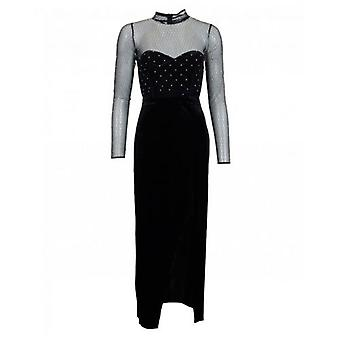 Forever Unique Collection Mesh Sleeved Velvet Maxi Dress