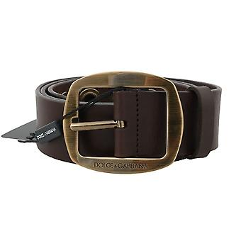 Brown-leather-gold buckle belt