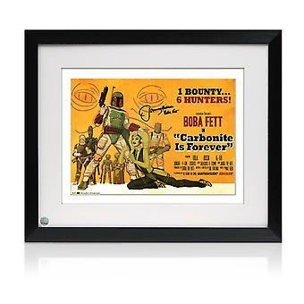 Boba Fett allekirjoitettu carbonite on ikuisesti juliste kehystetty