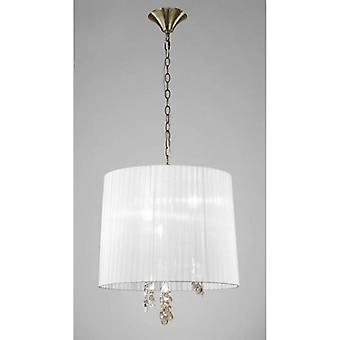 Tiffany Pendant 3+3 Light E14+g9, Antique Brass With White Shade & Clear Crystal