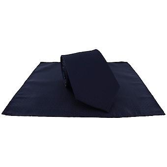 Michelsons Londyn Semi zwykły krawat i kieszonkowy zestaw kwadratowych - Navy