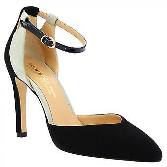 Leonardo Shoes Women's handmade pointed toe pumps black gray suede leather