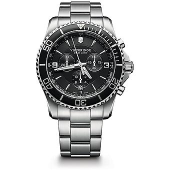 Victorinox Maverick Chronograph Black Dial Silver Stainless Steel Bracelet Mens Watch 241695 43mm