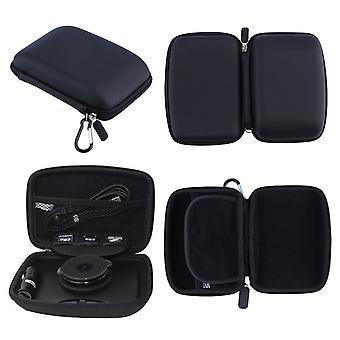 Para Binatone G500 caja dura llevar con accesorio de almacenamiento GPS Sat Nav Negro
