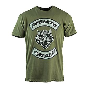 Roberto Cavalli Tiger Head Green T-Shirt
