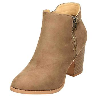Claudia Ghizzani High Block Heel Ankle Zip Boots Suede Brown