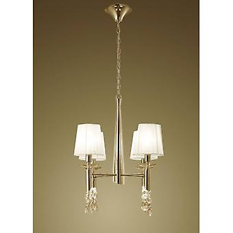 Tiffany Pendant Light 4 + 4 Bulbs E14 + G9, Gold With White Lampshades & Transparent Crystal