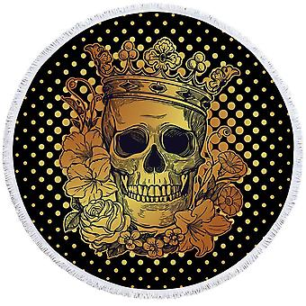 Floral King Skull Beach Towel