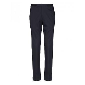 CC Collection Corneliani Navy Pleat Cotton Trousers