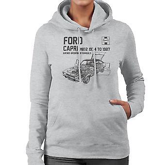 Haynes propietarios 0283 Manual de taller Ford Capri Mk12 negro sudadera con capucha de mujer