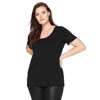 Daglig Ritual Dame&Apos;s Plus Size Jersey Kortermet Scoop Hals Skjorte, 2X, Svart