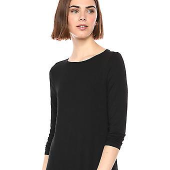 Essentials Women's Solid 3/4 Sleeve Boatneck Dress, Black, S