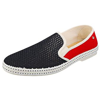 Rivieras Tdm France Mens Espadrille Shoes in Navy Red
