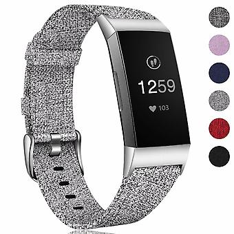 For Fitbit Charge 4 3 SE Strap Woven Nylon Wristband Watch Band Replacement[Grey]
