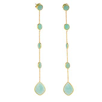 ADEN Gold Plated 925 Boucles d'oreilles amazonites sterling argentés (id 4581)
