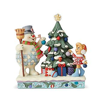Jim Shore Frosty The Snowman And Karen Decorating Tree Statue Figurine