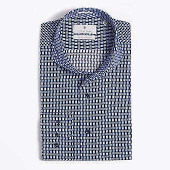Thomas Maine  - Geometric Print Shirt - Blue