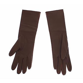 Dolce & Gabbana Brown Leather Wrist Slim Womens Gloves SIG13112-1