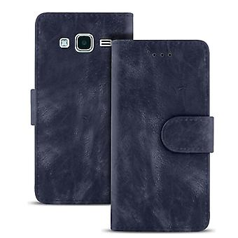 Vintage Wallet for Samsung Galaxy J3 (2016) Leatherette Card Compartment Navy Navy Navy