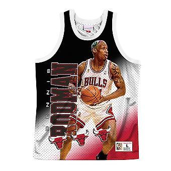 Mitchell & Ness Nba Hinter den Chicago Bulls Dennis Rodman MSTKMI19002CBUWHITDRD Basketball das ganze Jahr Herren T-shirt