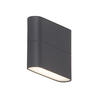 AEG Lampe Telesto LED Udendørs væglampe 12cm 2flg antracit   2x 3W LED integreret (SMD), (250lm, 3000K)   Skaler A++ til