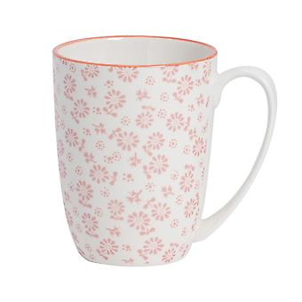 Nicola Spring Daisy Patterned Tea and Coffee Mug - Large Porcelain Latte Cup - Coral - 360ml