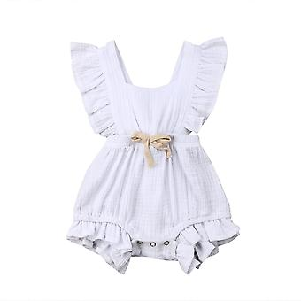Newborn Baby Ruffle Solid Color Romper Backcross Jumpsuit Outfits Sunsuit