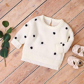 Fashion Dots Knitted Pullovers Jumpers, Casual Newborn Knitwear Tops, Sweaters