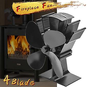 Black Fireplace 4 Blade Heat Powered Stove Fan, Komin Log Wood Burner
