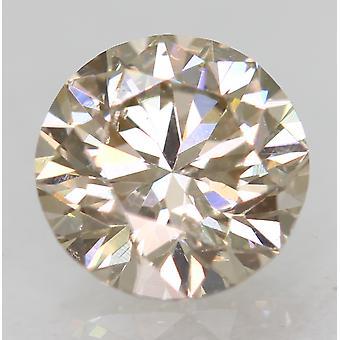 Cert 0.59 Carat Top Light Brown VS2 Round Brilliant Natural Diamond 5.33m EX CUT