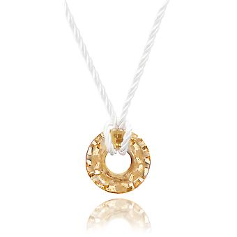 Ah! Jewellery 25mm Golden Shadow Faceted Disc Crystals From Swarovski Necklace, Finished On A White Cord, 3cm Extension Included