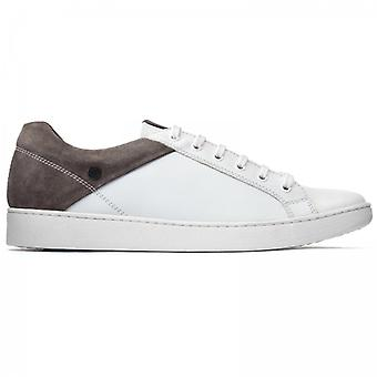 Base London Crew Mens Leather Trainers White/grey