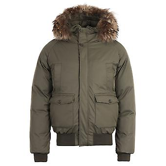 Pyrenex Mistral Removable Fur Down Sage Green Bomber Jacket